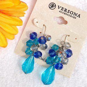 Boho Earrings Mixed Blue Teardrop Bead Drop Dangle
